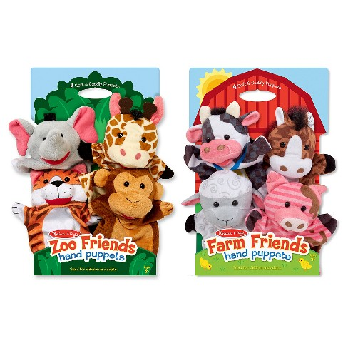Melissa & Doug® Animal Hand Puppets (Set of 2, 4 animals in each) - Zoo Friends and Farm Friends - image 1 of 2
