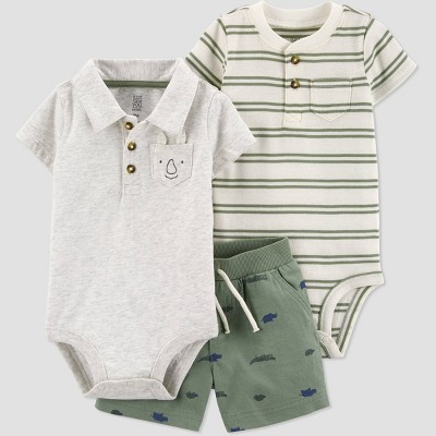 Baby Boys' 3pc Top & Bottom Set - Just One You® made by carter's Olive Green Newborn