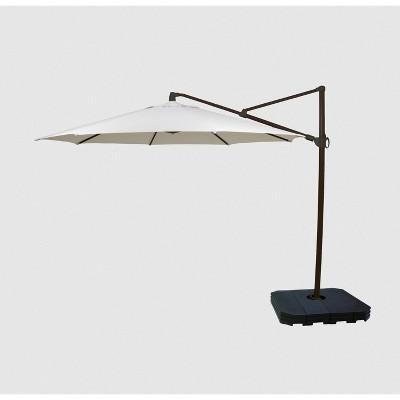 11' Offset Patio Umbrella DuraSeason Fabric™ Linen - Black Pole - Threshold™