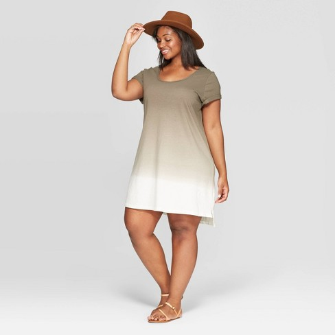 Women\'s Plus Size Cap Sleeve U-Neck T-Shirt Dress - Universal Thread™ Olive