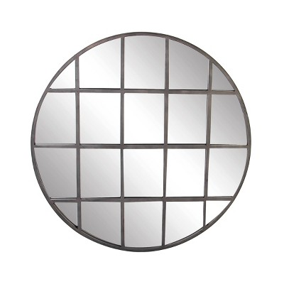 "48"" Modern Iron and Wood Round Paneled Glass Wall Mirror - Olivia & May"