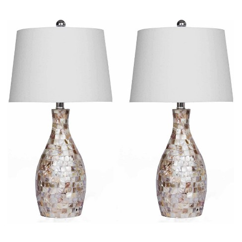 Set of 2 Becca Mother of Pearl Table Lamps White (Lamp Only) - Abbyson Living - image 1 of 4