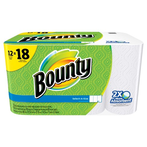 bounty select-a-size paper towels - 12 giant rolls : target
