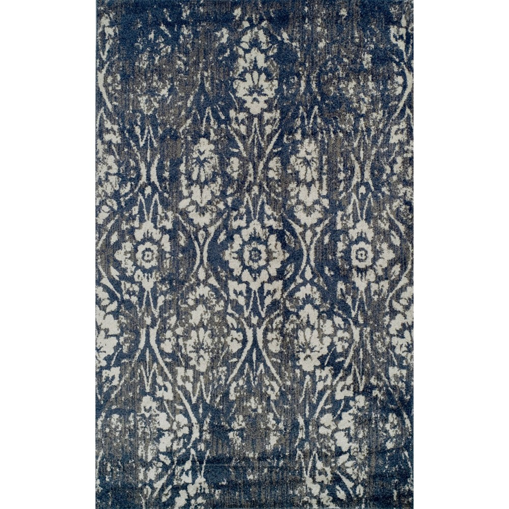 "Image of ""1'10""""x1'6"""" Blair Vintage Damask Area Rug Blue - Addison Rugs"""