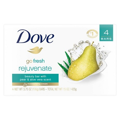Dove Go Fresh Rejuvenate Pear & Aloe Vera Beauty Bar Soap - 4pk - 3.75oz each