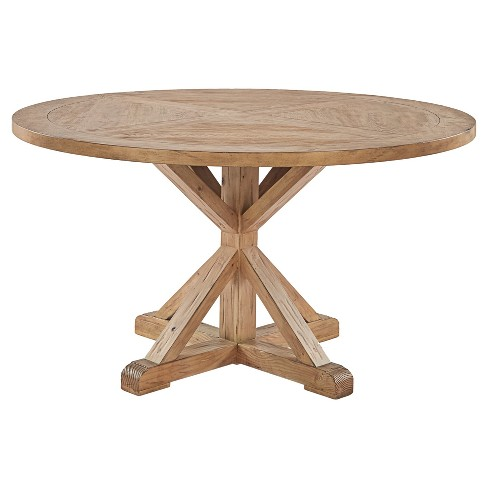 Sierra Round Farmhouse Pedestal Base Wood Dining Table Inspire Q