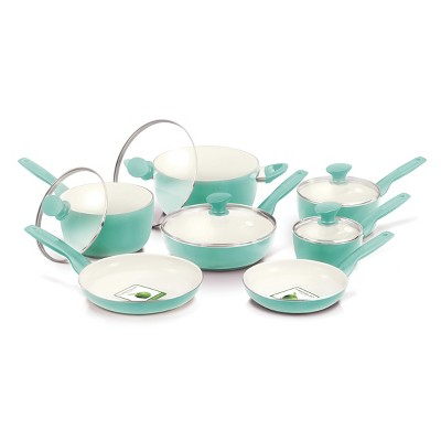 GreenPan Rio 12pc Cookware Set Turquoise