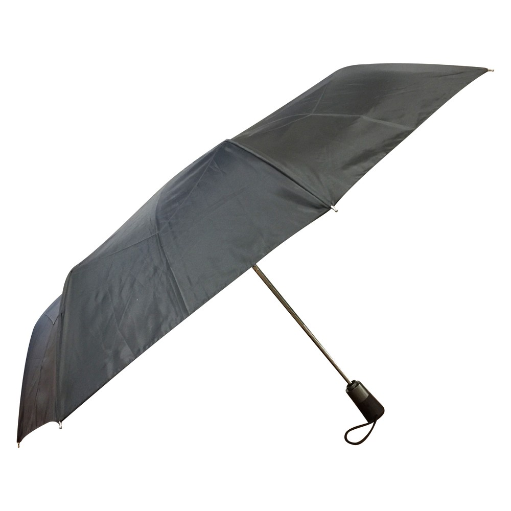 Totes Titan - 3 Seconds Aoc With Neverwet And Wood-Print Handle Compact Umbrella - Black