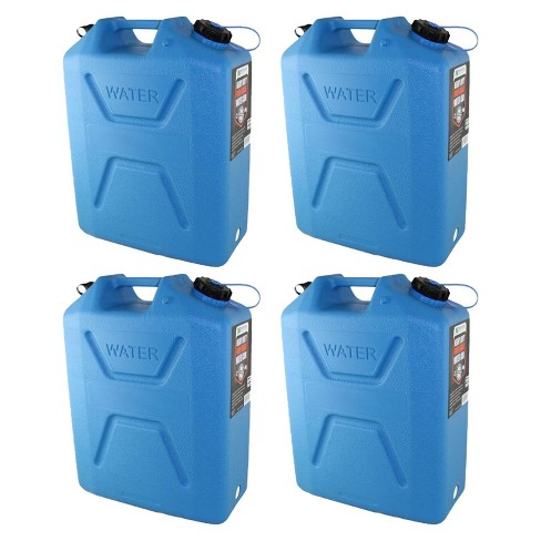 Wavian 5 Gallon Plastic Water Jug Can Container with Easy Pour Spout (4 Pack) - image 1 of 4