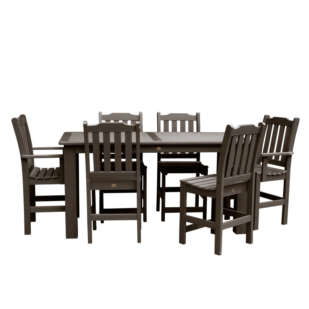 Lehigh 7pc Rectangular Counter Dining Set Weathered Acorn - Highwood