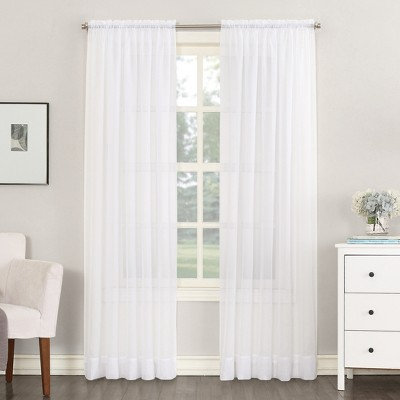 Emily Sheer Voile Rod Pocket Curtain Panel White 59 x84  - No. 918
