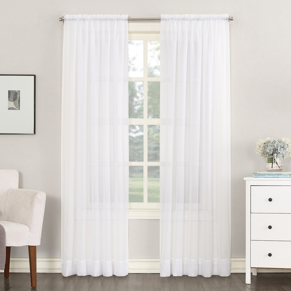 Emily Sheer Voile Rod Pocket Curtain Panel White 59