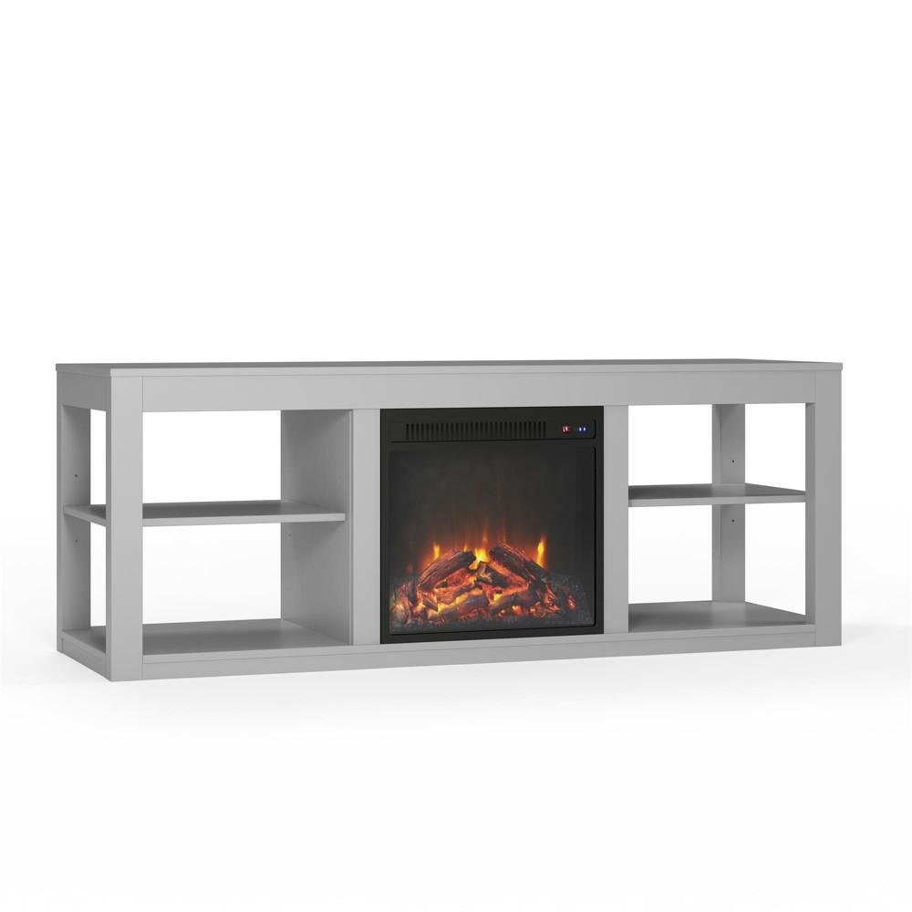 65 George Fireplace Console Gray - Room & Joy