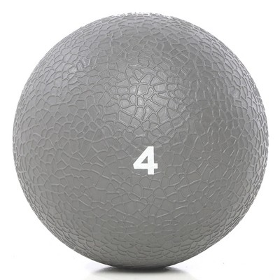Power Systems Premium Slam Textured Rubber 10 Inch Round Exercise Ball Prime Fitness Training Weight, 4 Pounds, Gray