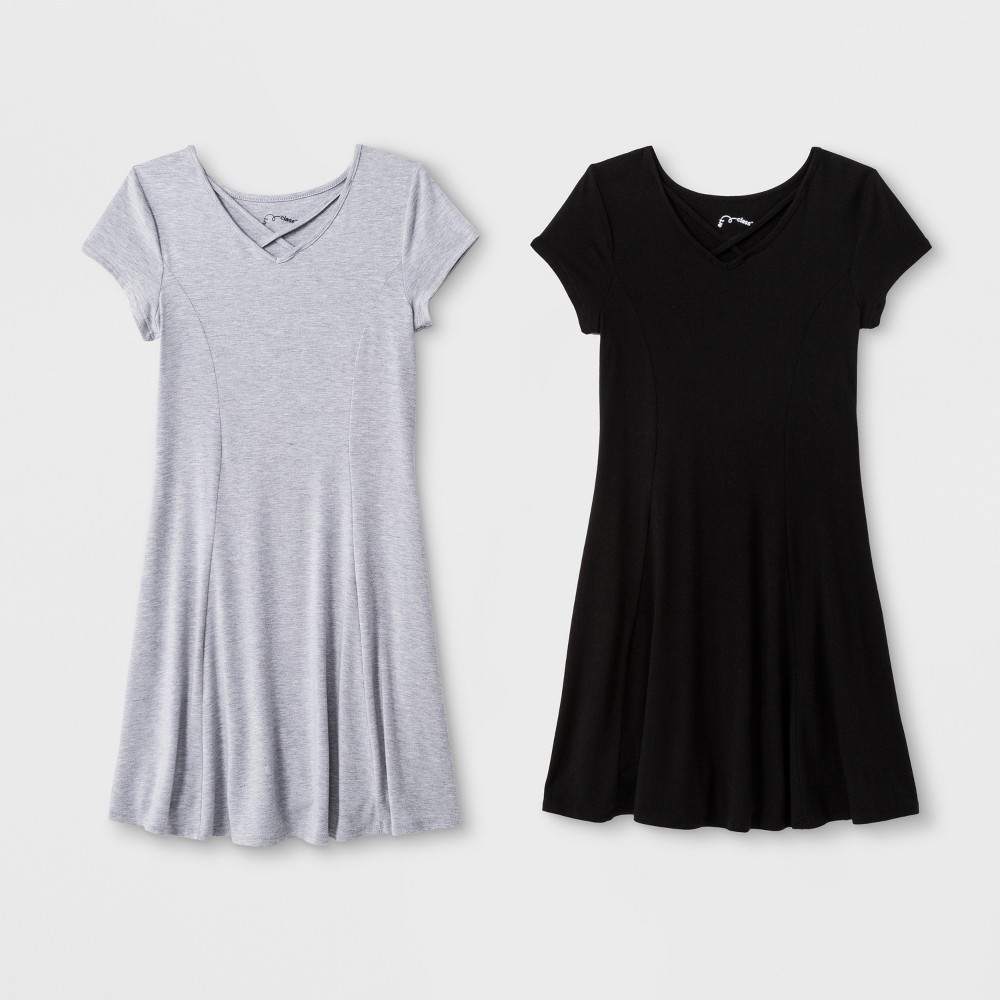 Girls' 2pk Strappy A Line Dress - art class Heather Gray/Black XS