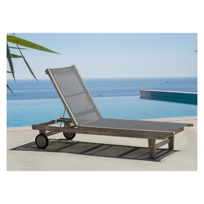 Teak Contemporary Deck Side Outdoor Sling Lounge Chair - Driftwood Gray - Courtyard Casual