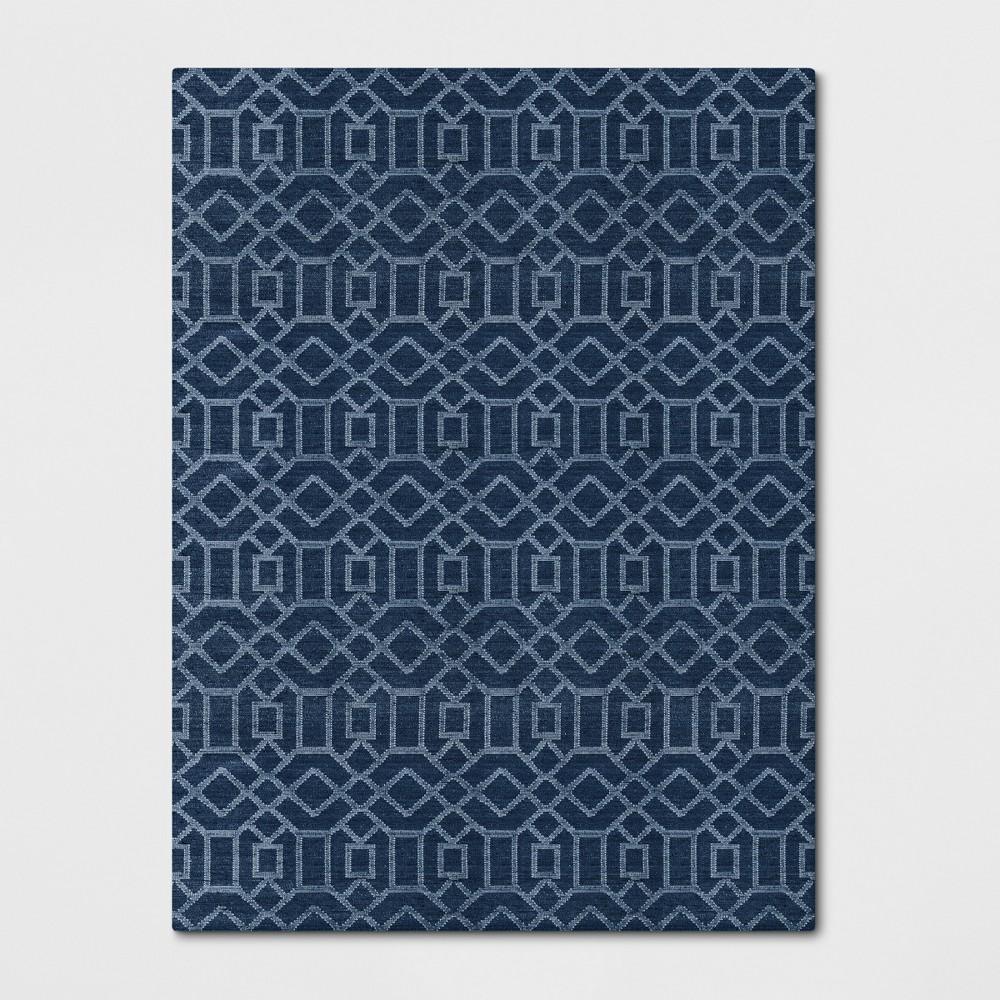 9'X12' Woven Geometric Area Rug Denim (Blue) - Project 62