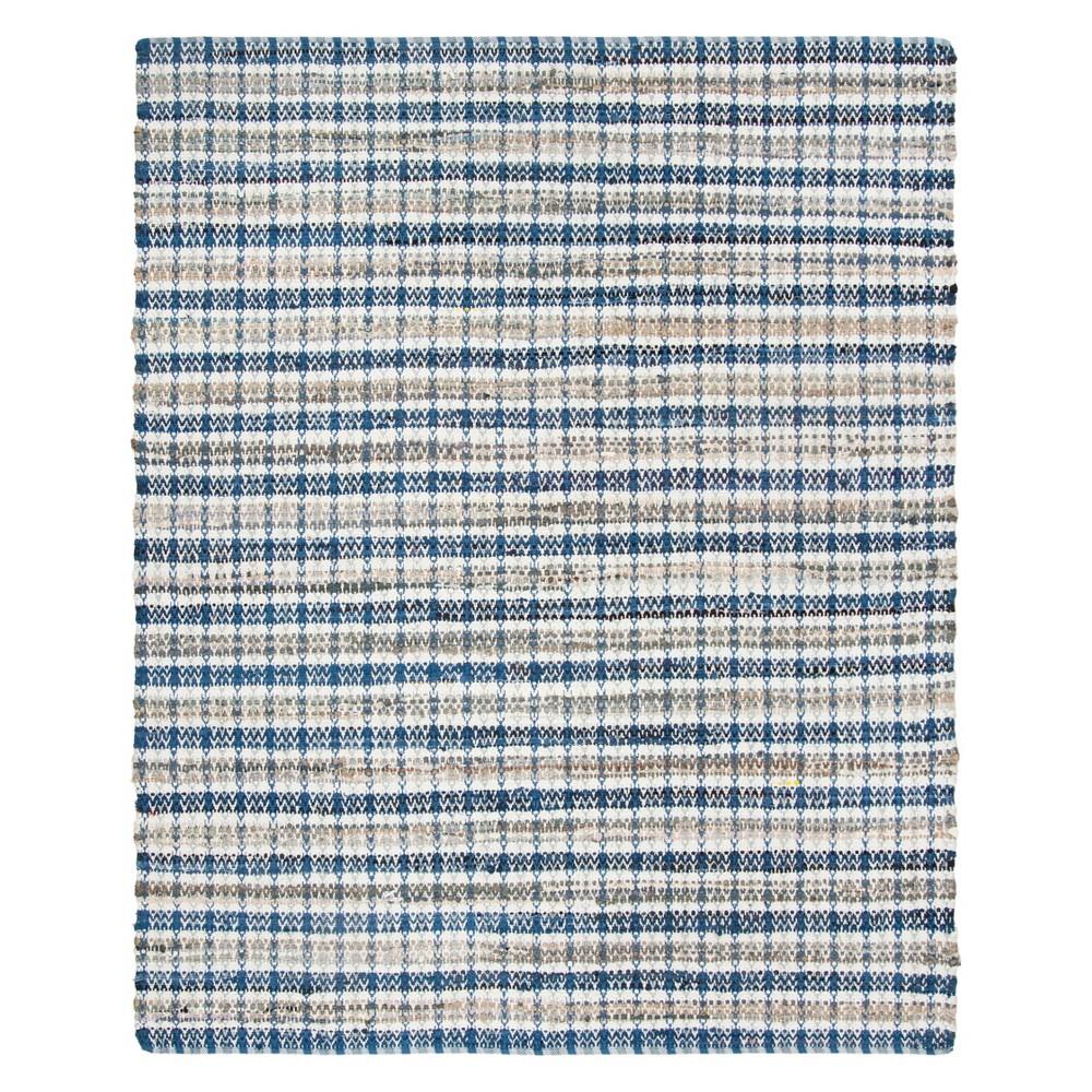 5'X8' Stripe Woven Area Rug Blue - Safavieh, Blue/Multi-Colored