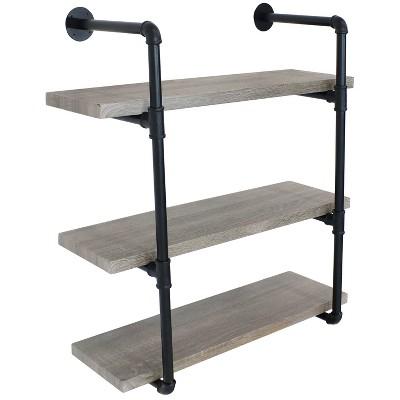 3-Tier Industrial Pipe Wall-Mounted Floating Shelf - Oak Gray Veneer - Sunnydaze Decor