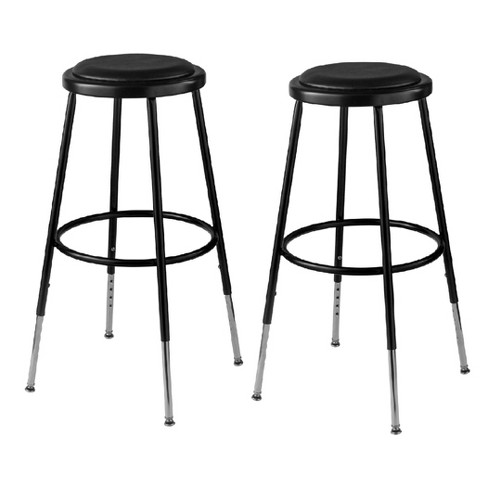 Sensational 2Pk Adjustable Heavy Duty Vinyl Padded Steel Stool Black Hampton Collection Ibusinesslaw Wood Chair Design Ideas Ibusinesslaworg