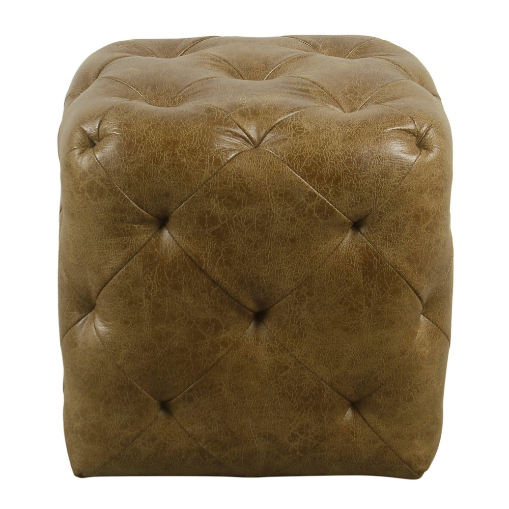 Small Pin Tufted Ottoman Faux Leather Distressed Brown - HomePop was $99.99 now $74.99 (25.0% off)