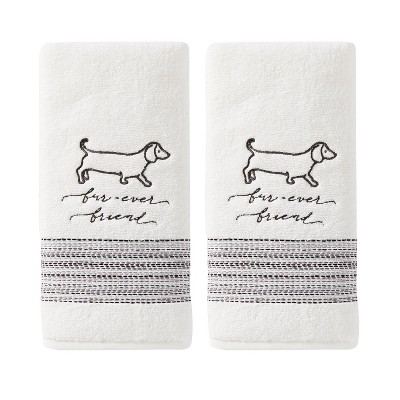 2pc Faux Fur Ever Friends Hand Towel White - SKL Home