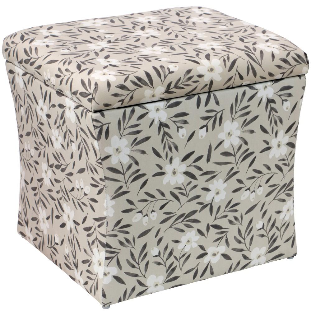 Layla Storage Ottoman Cream Floral - Cloth & Co