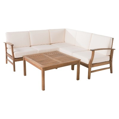 Perla 6pc Acacia Wood Patio Chat Set w/ Water Resistant Cushions - Cream - Christopher Knight Home