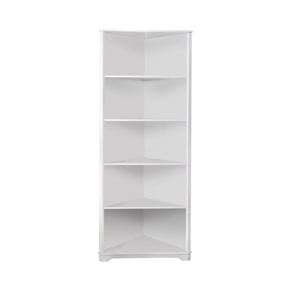 78 Mcafee Contemporary 5 Tier Corner Bookshelf White - Homes: Inside + Out
