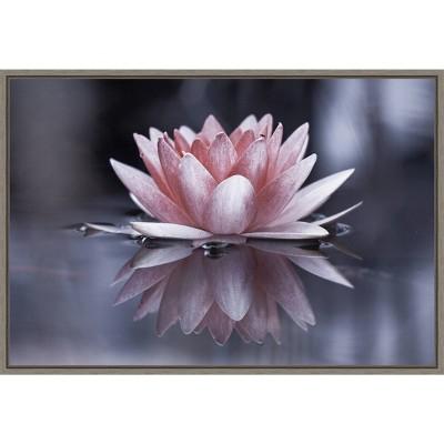 "23"" x 16"" Padmasana Lotus Flower by Fabien Bravin Framed Canvas Wall Art - Amanti Art"