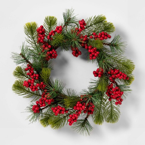 """12"""" Artificial Pine Wreath with Berries Green/Red - Threshold™ - image 1 of 1"""