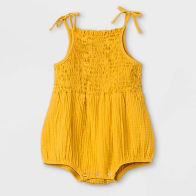 Grayson Mini Baby Girls' Gauze Bubble Romper - Gold Newborn