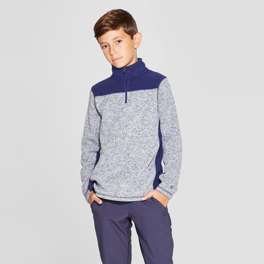 Boys' Sweater Fleece 1/4 Zip Pullover - C9 Champion Navy (Blue) Heather S