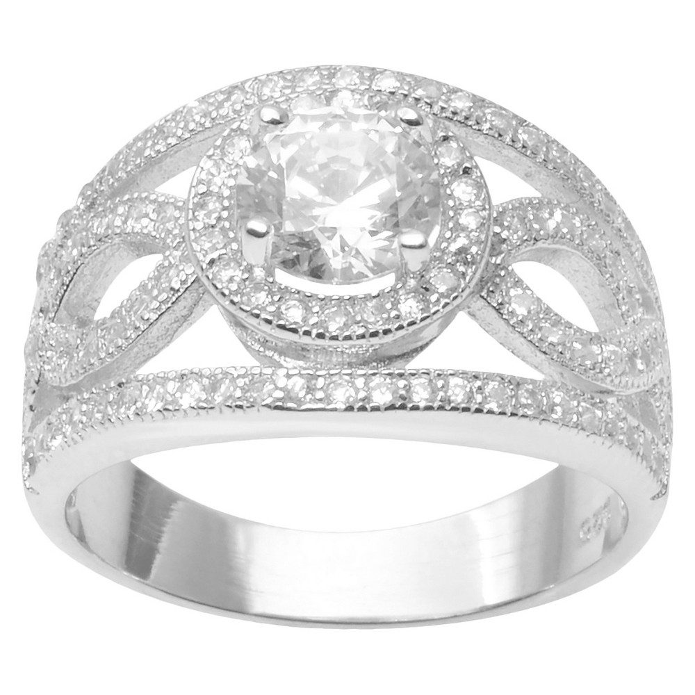 1 4/5 CT. T.W. Round Cut CZ Basket Set Intricate Split Band Ring in Sterling Silver - Silver (5)