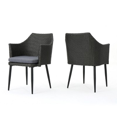 Iona Set of 2 Wicker Dining Chair - Gray/Black- Christopher Knight Home