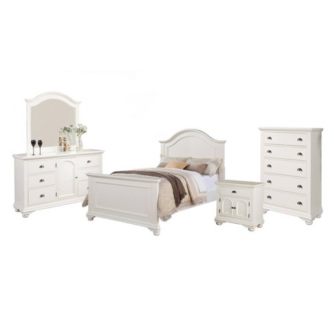 5pc Full Addison Panel Bedroom Set Dove White - Picket House Furnishings