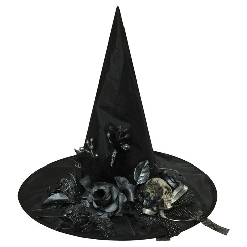 18 Halloween Witch Hat With Bone Skull