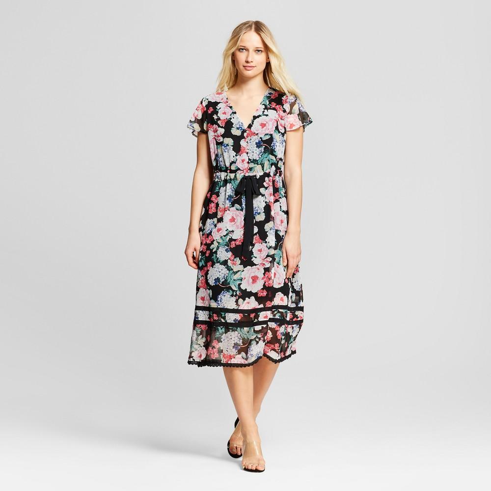 Women's Floral Print Short Sleeve Lace Trim Midi Dress - Who What Wear Black/Pink XL