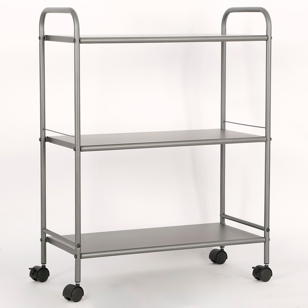 Image of 3 Shelf Wide Utility Storage Cart Gray - Room Essentials