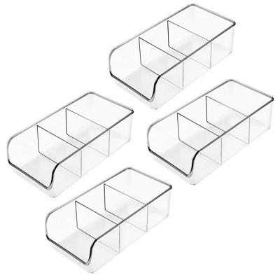 mDesign Plastic Food Packet Kitchen Storage Organizer Bin Caddy, 4 Pack - Clear