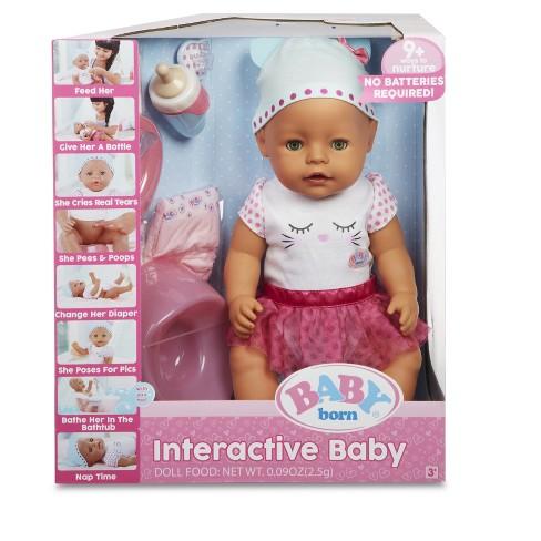 Baby Born Interactive Doll Green Eyes Target