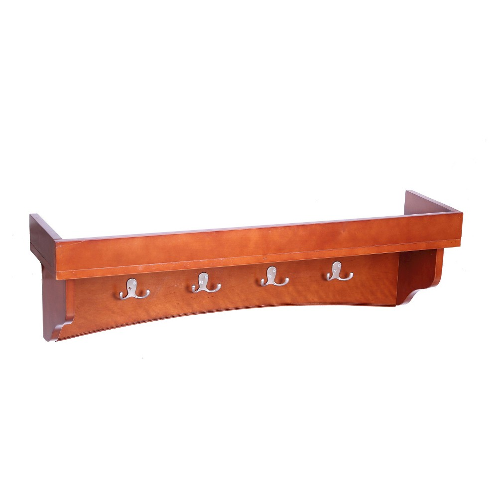 Image of 11 Coat Hooks with Tray Shelf Wood Composite Cherry (Red) - Alaterre Furniture
