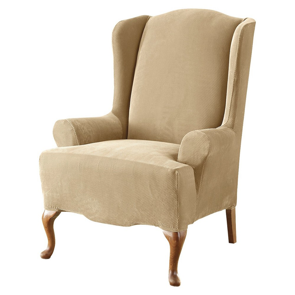 Cream (Ivory) Stretch Pique Slipcover Cream Wing Chair - Sure Fit