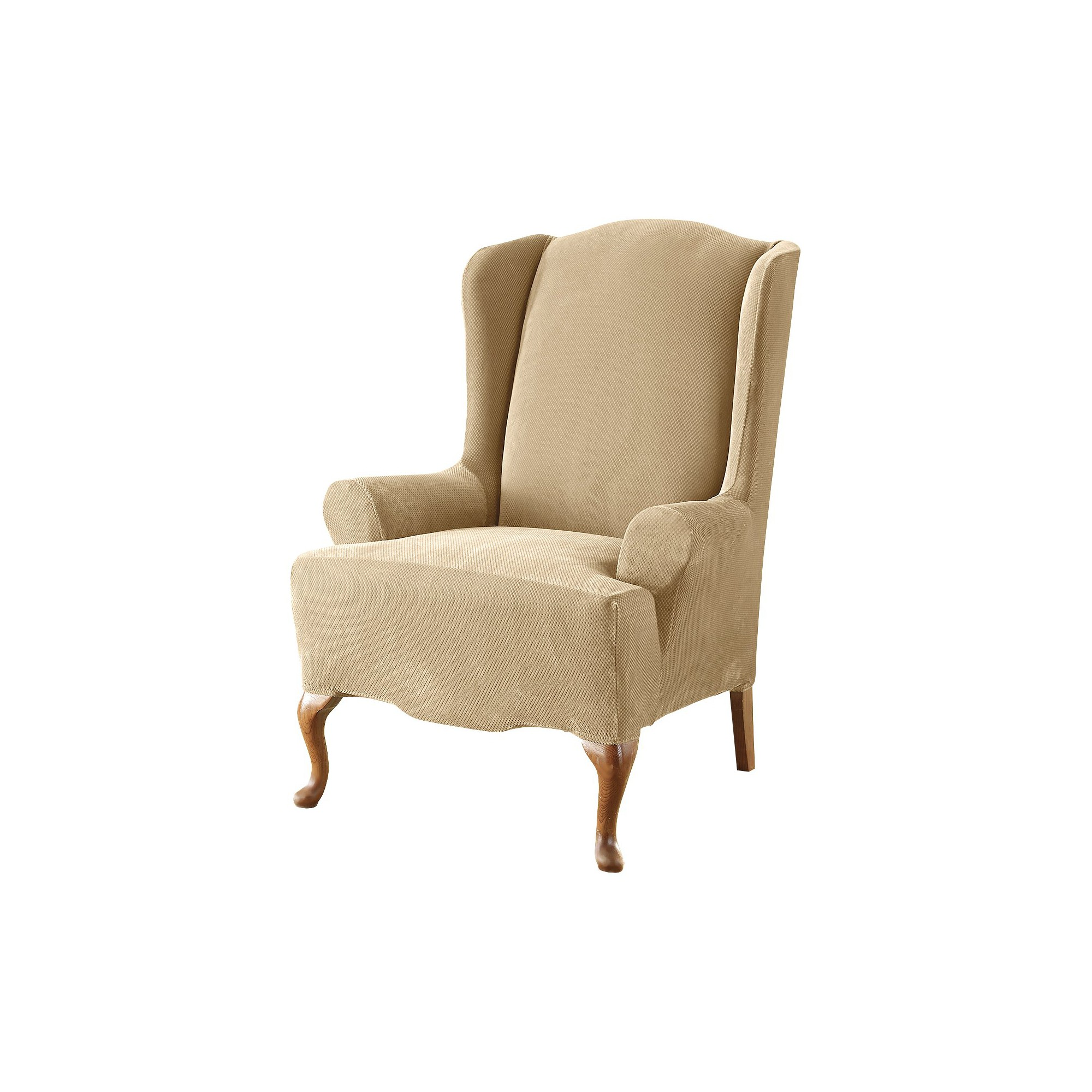 Cream Stretch Pique Slipcover Cream Wing Chair - Sure Fit, Ivory
