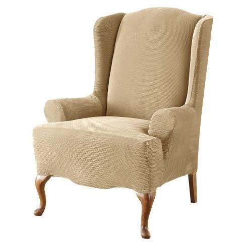Admirable Stretch Pique Wingchair Slipcover Sure Fit Machost Co Dining Chair Design Ideas Machostcouk