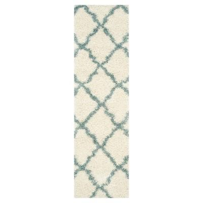 Ivory/Light Blue Geometric Shag/Flokati Loomed Runner - (2'3 X8' Runner)- Safavieh®