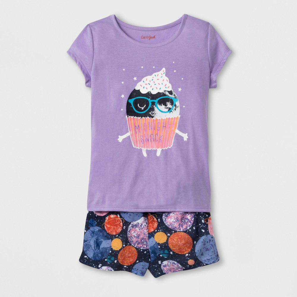 Girls' Short Sleeve Cupcake Graphic Pajama Set With Shorts - Cat & Jack Purple XL