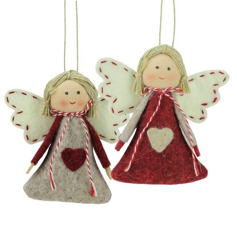 "NORTHLIGHT 2ct Girl Angel Christmas Ornaments Set 3.5""- Gray/Red - image 1 of 1"