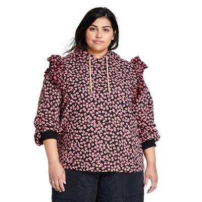 Women's Floral Print Ruffle Hooded Sweatshirt - Sandy Liang x Target Pink