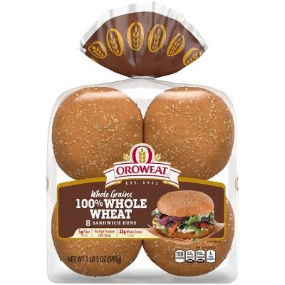 Oroweat 100% Whole Wheat Hamburger Buns - 12oz/8ct